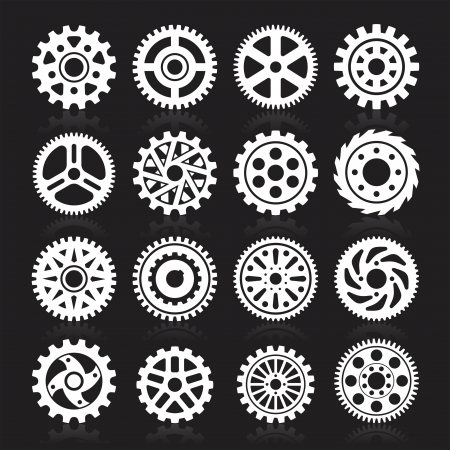 Set of gear icons on black background. Vector illustration