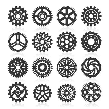 Conjunto de iconos de engranaje. Ilustración vectorial