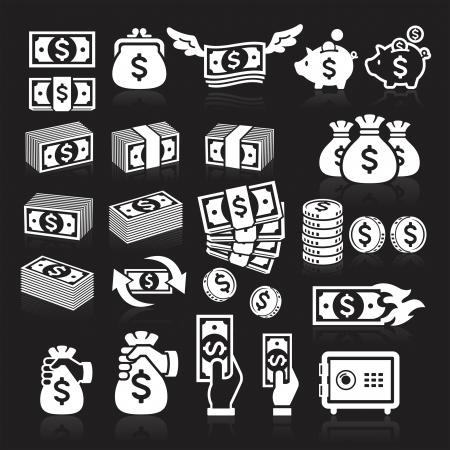 dinero: Conjunto de iconos de dinero. Ilustraci�n vectorial