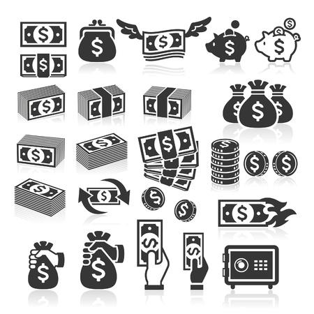 Conjunto de iconos de dinero. Ilustración vectorial Foto de archivo - 22121392