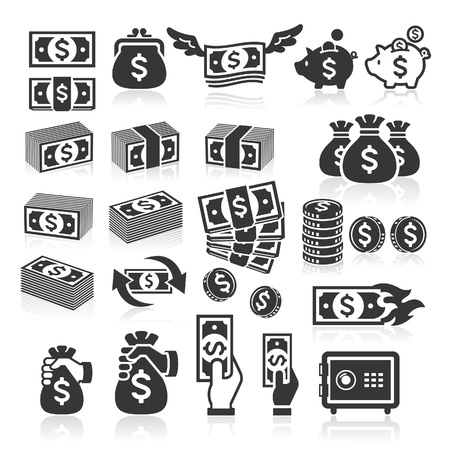 Set van geld pictogrammen. Vector illustratie Stockfoto - 22121392