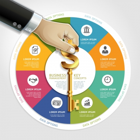 Business management diagram concept. businessman hand with key symbol. Vector