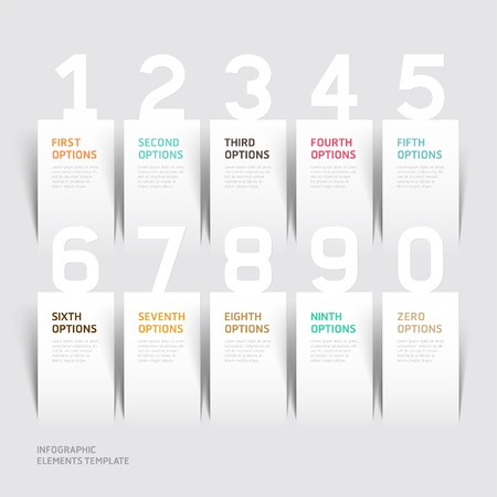 versions: Modern infographics number options template.  Illustration
