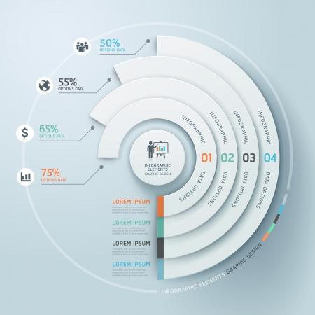 conexiones: Negocios Infograf�a c�rculo estilo origami Vectores