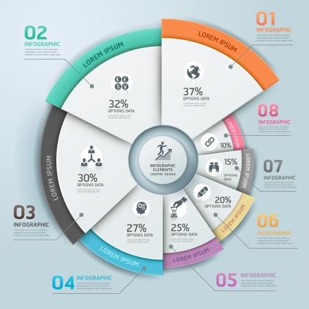 モダンなビジネス Infographics サークル折り紙スタイル