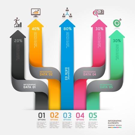 pfeil: Moderne Business-Diagramm Pfeil Origami-Stil Optionen Banner. Illustration