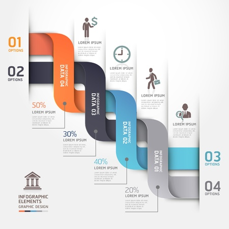 paper origami: Modern business diagram origami style options banner. Vector illustration. can be used for workflow layout, number options, step up options, web design, infographics. Illustration