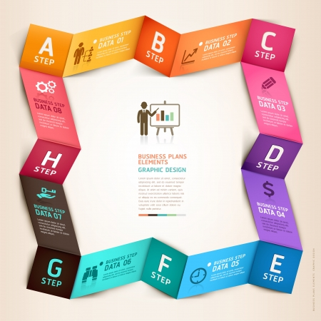 Modern business infographics origami template.  Vector