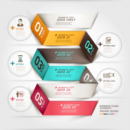 Modean business diagram origami style options banner.   Illustration
