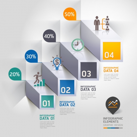 Escalier 3d diagramme options de STEB d'affaires modernes.