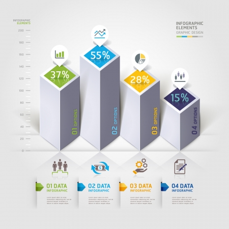 Modern 3d infographics options.  Vector
