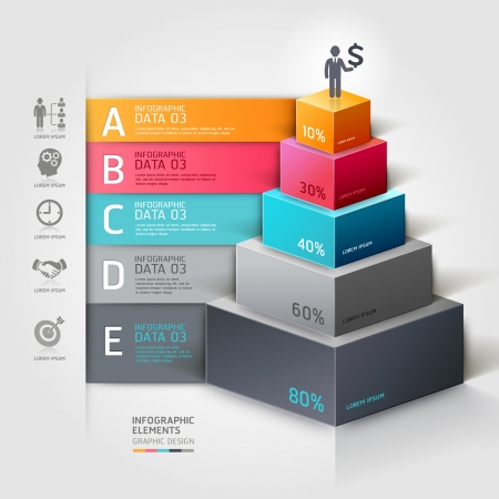 human icon: 3d staircase diagram modern business step options.   Illustration