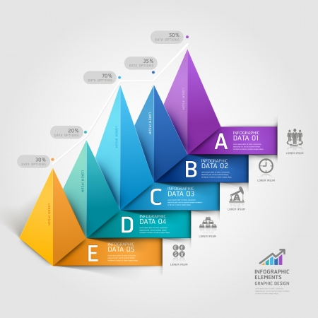 3d triangle: Modern business 3d triangle staircase diagram step options.