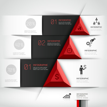 3d modern business steb origami style options banner.  Vector
