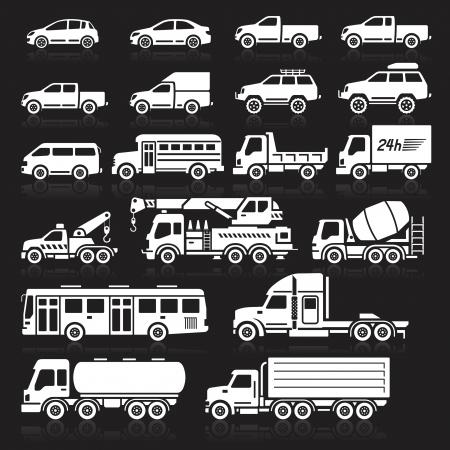 運輸: 汽車圖標白色的顏色設置。向量插圖。 向量圖像