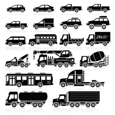 teherautók: Cars ikonok meg. Vektoros illusztráció. Illusztráció