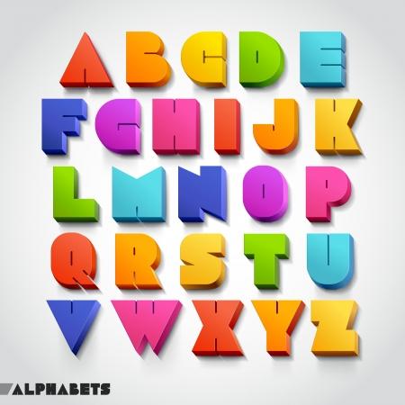 3D alphabet colorful font style. Vector illustration. Vettoriali