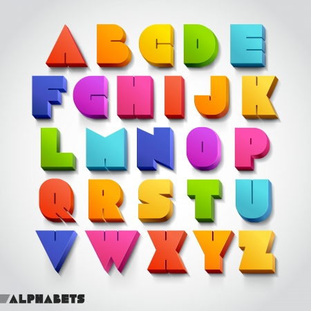 3D alphabet colorful font style. Vector illustration. Vectores