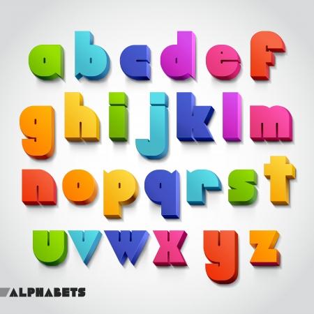 barvitý: 3D abeceda barevný styl písma. Vektorové ilustrace.
