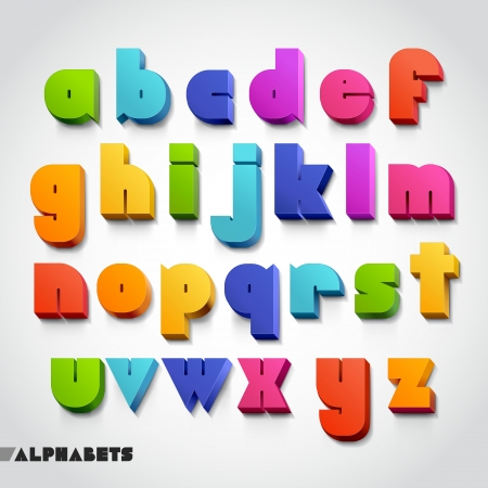 write a letter: 3D alphabet colorful font style. Vector illustration. Illustration