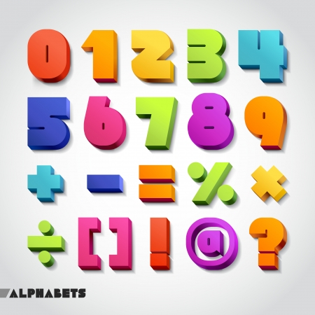 number: 3D alphabet number colorful. Vector illustration.