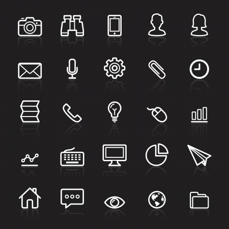 Business outline white icons set 1. Vector illustration. Vector