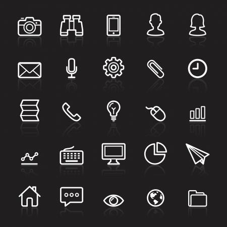 Business outline white icons set 1. Vector illustration. Stock Vector - 24028258