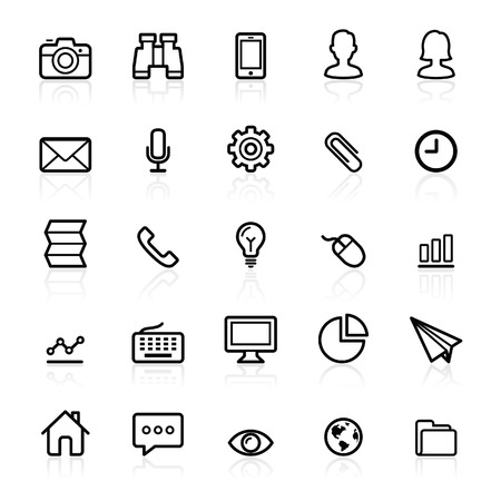 Business outline icons set 1. Vector illustration. Çizim