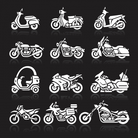 Motorcycle Icons set. Vector Illustration. Vector