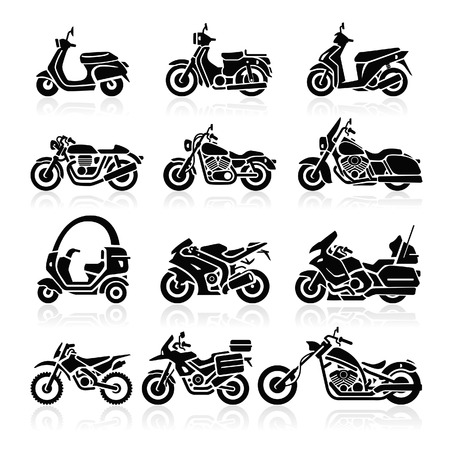 motorbikes: Motorcycle Icons set. Vector Illustration.