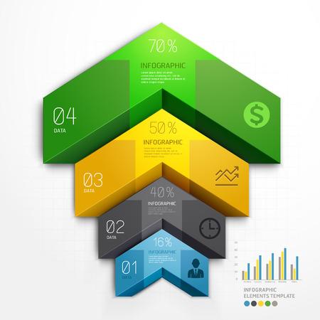 commerciali: 3d opzioni step affari diagramma scala freccia. Illustrazione vettoriale. può essere utilizzato per il layout del flusso di lavoro, banner, opzioni di numero, intensificare le opzioni, web design, infografica.