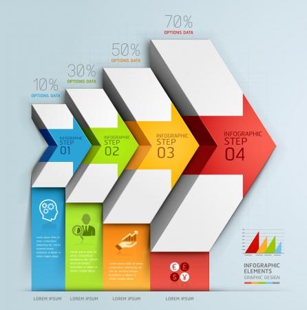 flechas: Diagrama de escalera flecha opciones de pasos de negocios 3d. Ilustración del vector. se puede utilizar para el diseño del flujo de trabajo, bandera, opciones numéricas, intensificar opciones, diseño web, infografía.