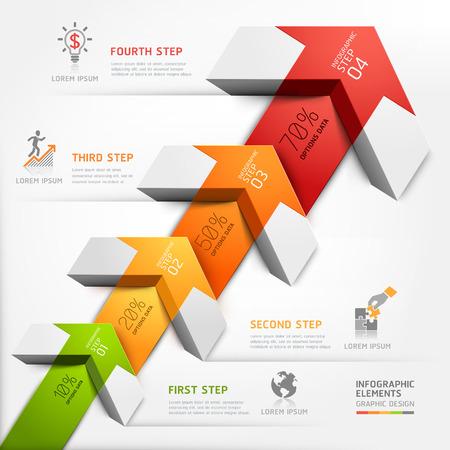 diagrama: 3d intensificar flecha escalera de negocio diagrama. Ilustración del vector. se puede utilizar para el diseño del flujo de trabajo, bandera, opciones numéricas, intensificar opciones, diseño web, infografía.