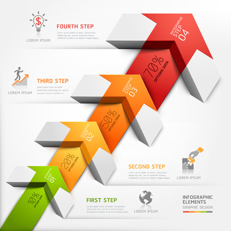 step up: 3d step up arrow staircase diagram business. Vector illustration. can be used for workflow layout, banner, number options, step up options, web design, infographics.