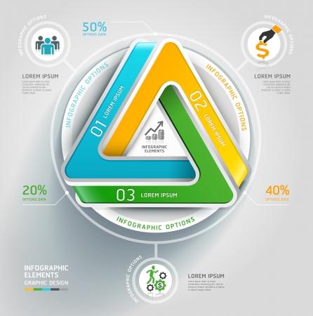 Moderne triangle infini escalier 3d diagramme entreprise. Vector illustration. peut être utilisé pour la mise en page workflow, bannière, les options numériques, intensifier les options, web design, infographie.