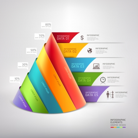 triangles: Modern cone 3d staircase diagram business. Vector illustration. can be used for workflow layout, banner, number options, step up options, web design, infographics.