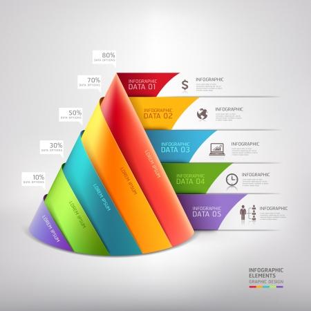 infografica: Moderno cono 3d business diagramma scala. Illustrazione vettoriale. può essere utilizzato per il layout del flusso di lavoro, banner, opzioni di numero, intensificare le opzioni, web design, infografica.