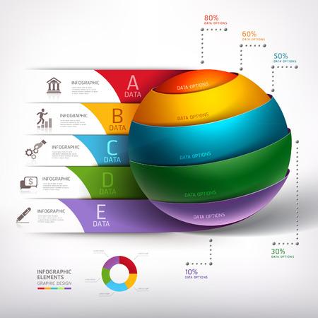 Moderne cirkel bal 3d trap diagram bedrijf. Vector illustratie. kan gebruikt worden voor workflow layout, banner, het aantal opties, opvoeren opties, web design, infographics. Stock Illustratie
