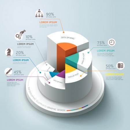 비즈니스 인포 그래픽 원 그래프의 벡터 일러스트 레이 션. 워크 플로우 레이아웃, 배너, 도표, 수 옵션, 스텝 업 옵션, 웹 디자인에 사용할 수 있습니다