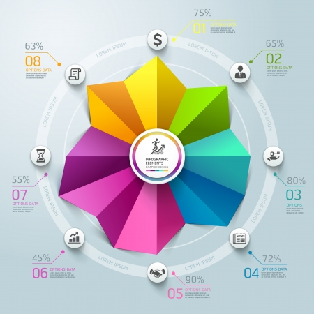 Business Infographics circle graph origami style. Vector illustration. can be used for workflow layout, banner, diagram, number options, step up options, web design.  Vector