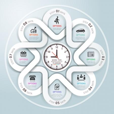 calendrier: Infographies d'affaires cercle style moderne de l'origami. Vector illustration. peut être utilisé pour flux de travail mise en page, bannière, diagramme, les options numériques, intensifier les options, conception de sites Web. Illustration