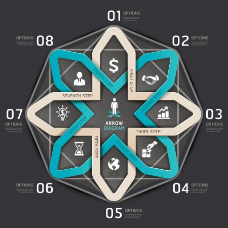 arrow circle: Business step arrow circle origami style. Vector illustration. can be used for workflow layout, Infographics, banner, diagram, number options, web design. Illustration