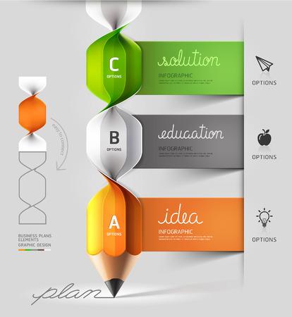 lapiz: Opción moderna lápiz escalera de caracol de Infografía. Ilustración del vector. se puede utilizar para el diseño del flujo de trabajo, diagrama, opciones de número, diseño de páginas web.