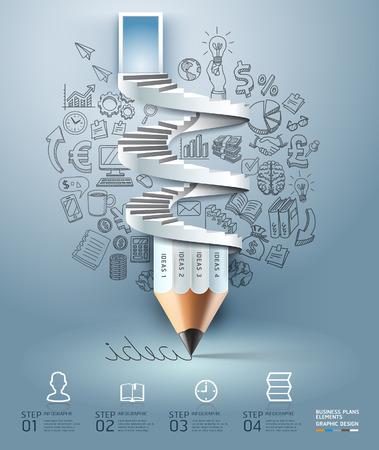 Opción Infografía escalera lápiz negocios. Ilustración del vector. se puede utilizar para el diseño del flujo de trabajo, bandera, diagrama, opciones numéricas, intensificar opciones, diseño de páginas web.