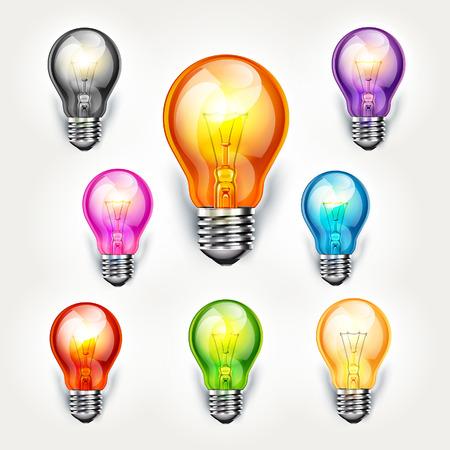 Realistic light bulb color set. vector illustration.
