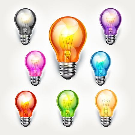innovating: Realistic light bulb color set. vector illustration.