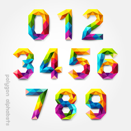 Polygon number alphabet colorful font style. Vector illustration.