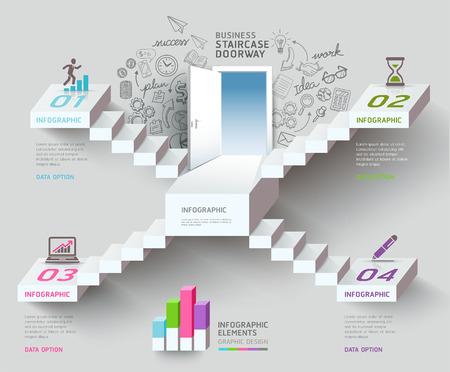 사업 계단 생각 아이디어, 계단 출입구 개념.