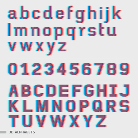 3D alphabet and numbers font style. Vector illustration.