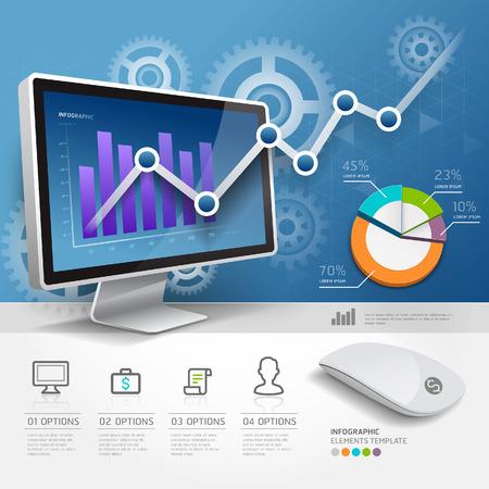 sites web: Infographie web mod�le 3D de conception. Vector illustration. peut �tre utilis� pour flux de travail mise en page, sch�ma banni�re, les options num�riques, l'�tape des options.